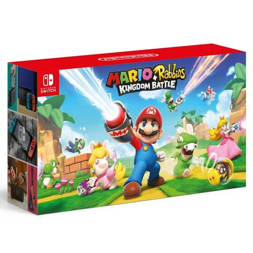 کنسول بازی نینتندو Nintendo Switch with Gray Joy-Con - Mario + Rabbids Kingdom Battle Bundle